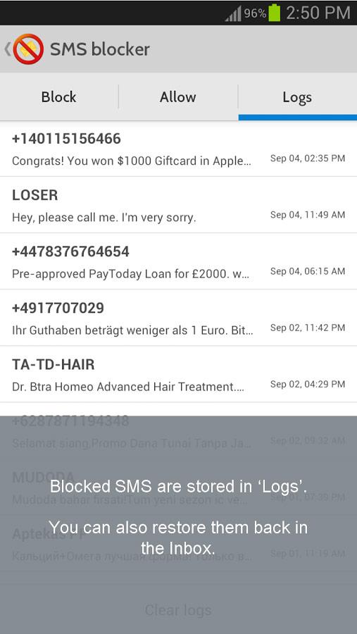 نتیجه تصویری برای آموزش نرم افزار SMS Blocker Call Blocker اندروید