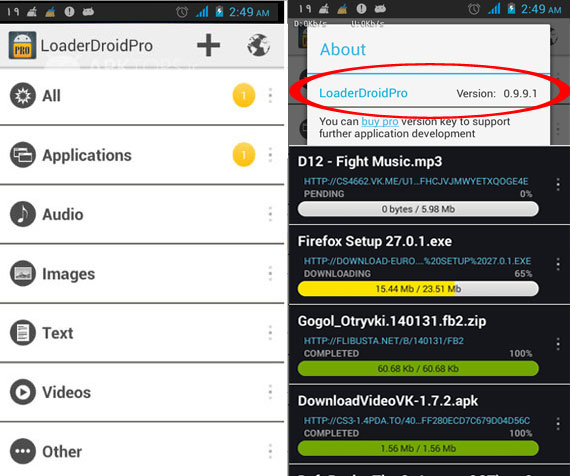 Loader Droid PRO Download Manager 0.9.9.1