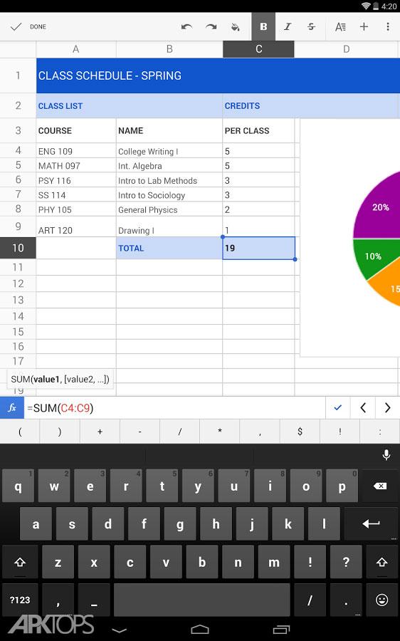 Google Sheets v1.18.442.02 دانلود نرم افزار اکسل گوگل برای اندروید
