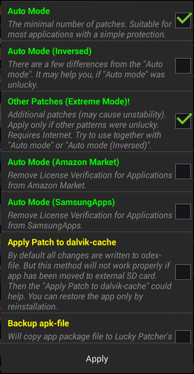 Select this mode with Lucky Patcher