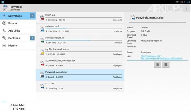 Ponydroid Download Manager v1.4.7 دانلود برنامه مدیریت دانلود اندروید