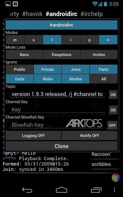 IRC for Android ™ v2.1.52 دانلود برنامه کلاینت چت اینترنتی برای اندروید