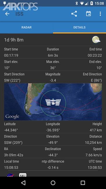 ISS Detector Satellite Tracker v2.03.65 Pro دانلود برنامه ردیابی ماهواره اندروید