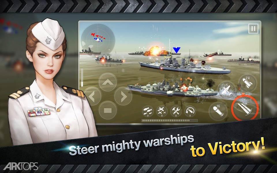 WARSHIP BATTLE:3D World War II v2.6.9 دانلود بازی نبرد کشتی ها برای اندروید