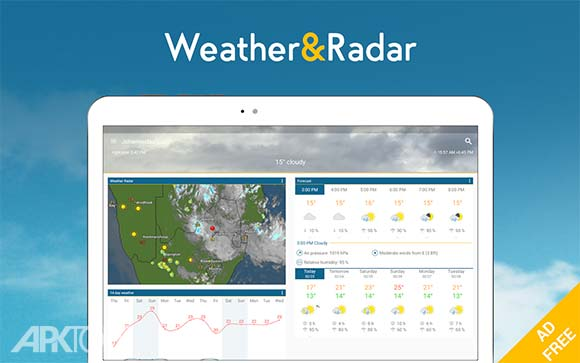 Weather & Radar Pro دانلود ودر اند رادار برنامه نمایش عکس های ماهواره ای هواشناسی اندروید