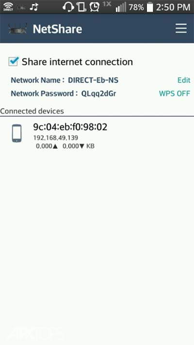 NetShare-no-root-tethering WiFi Hotspot v1.45 دانلود برنامه اشتراک گذاری اینترنت Wi-Fi یا دیتای گوشی