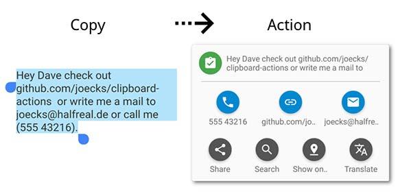 Clipboard Actions دانلود برنامه استفاده سریع از موارد کپی شده در کلیپبورد