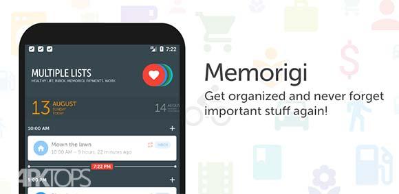 Memorigi Todo List Task List دانلود برنامه یاداوری لیست کار ها