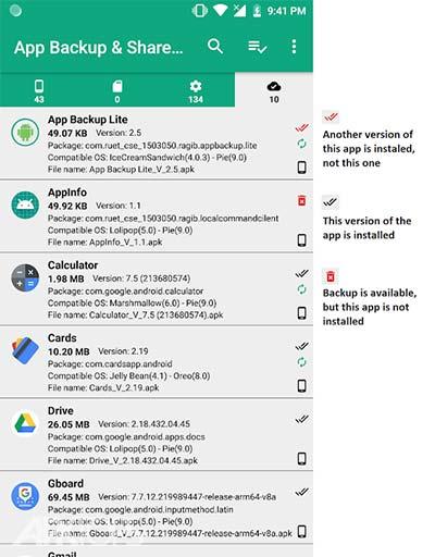 App Backup && Share Pro v10.2.5 دانلود برنامه پشتیبان گیری از برنامه ها و اشتراک گذاری ان ها