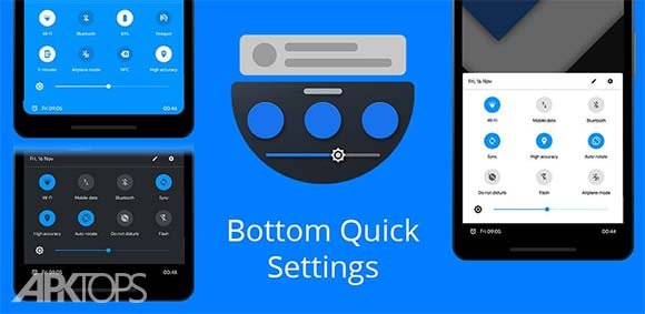 Bottom Quick Settings دانلود برنامه نمایش تنظیمات سریع در پایین صفحه