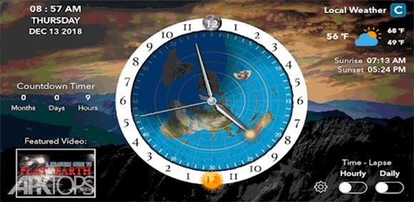 Flat Earth Sun & Moon Clock دانلود برنامه ساعت تخته ای ماه و خورشید