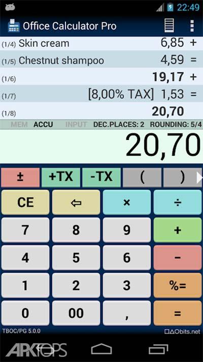 Office Calculator Pro v5.2.4 دانلود برنامه ماشین حساب اداری