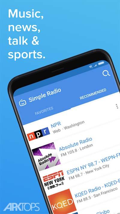 Simple Radio – Free Live FM AM v2.7.4 دانلود برنامه پخش زنده شبکه های رادیویی